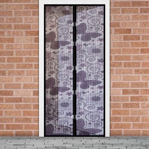 Mágneses szúnyogháló függöny ajtóra - Lila pillangós