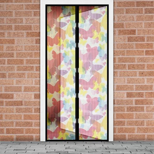 Mágneses szúnyogháló függöny ajtóra - Színes pillangós