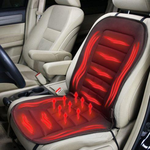 Fűthető autós ülésvédő - szivargyújtó dugóval - fekete