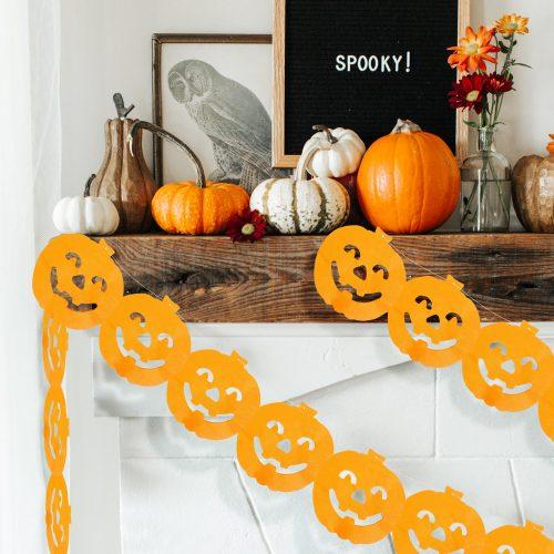 Halloween-i papír girland - tök - 3 m