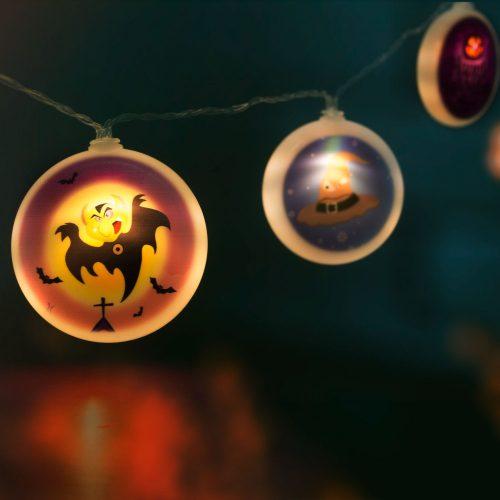 Halloween-i LED-es fényfüzér korongok
