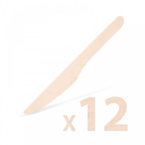 Fa evőeszköz készlet - kés - 12 db