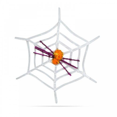 Pókháló pókkal - halloween-i dekoráció - fehér
