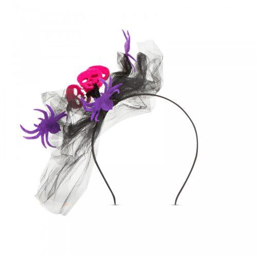 Halloween-i hajráf - pók, koponya - lila
