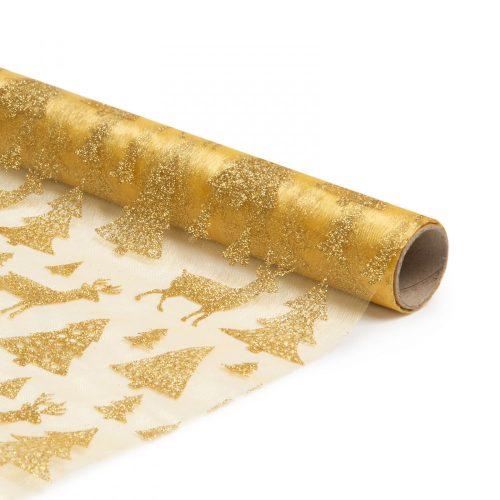 Karácsonyi asztalterítő futó - arany - 180 x 28 cm