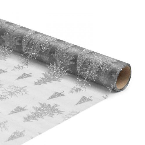 Karácsonyi asztalterítő futó - szürke / ezüst - 180 x 28 cm