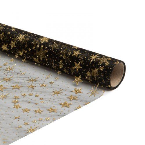 Karácsonyi asztalterítő futó - fekete / arany - 180 x 28 cm