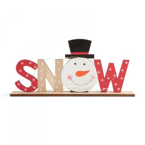 LED-es karácsonyi polcdísz - hóemberes - 24 x 4 x 11 cm