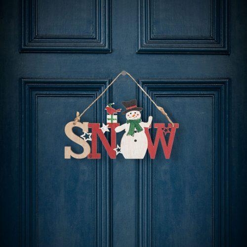 Karácsonyi dekor fából - hóember - akasztóval - 17 x 9 cm
