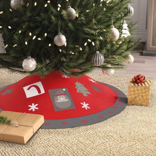 Karácsonyfa alá terítő - 97 cm - poliészter - szürke / piros