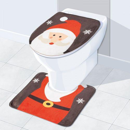 Karácsonyi WC ülőke és szőnyeg mikulás mintával