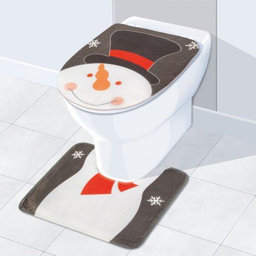 Karácsonyi WC ülőke és szőnyeg hóember mintával