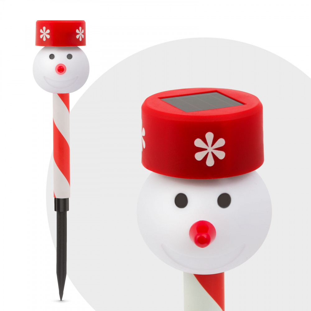 Led-es leszúrható szolár lámpa - hóember fej - piros
