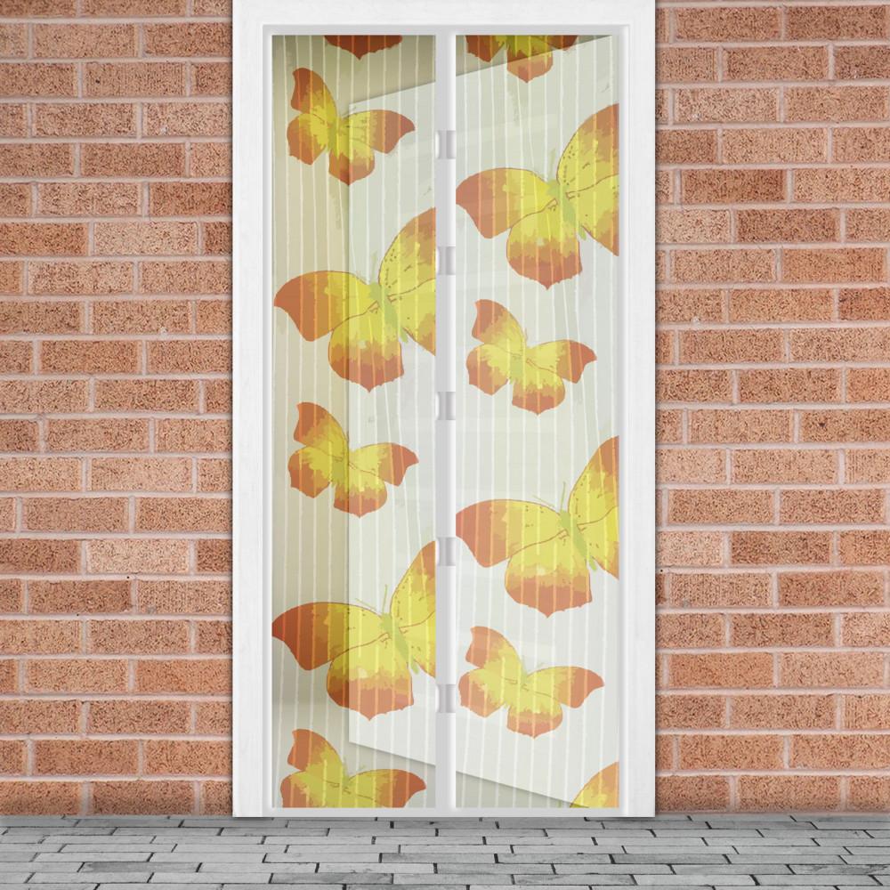 Mágneses szúnyogháló függöny ajtóra - Sárga pillangós