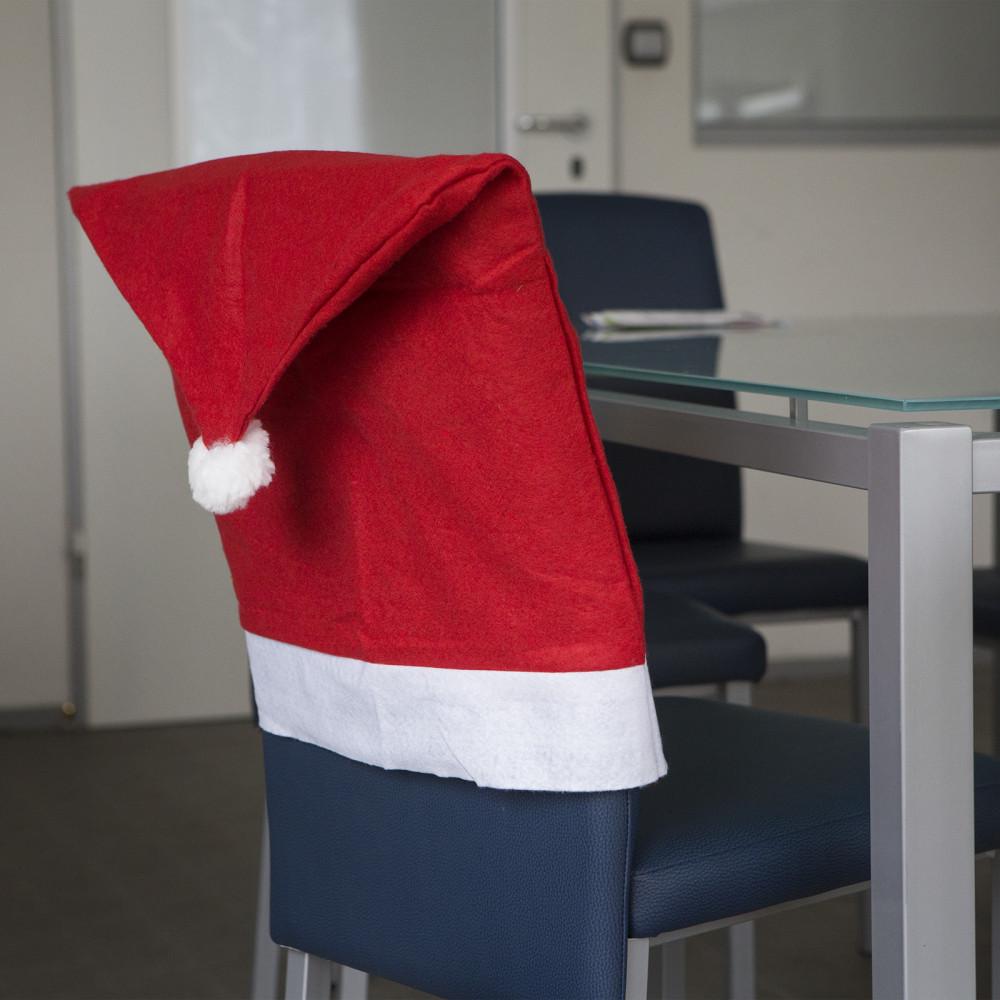 Karácsonyi Székdekor, székhuzat - mikulás sapka