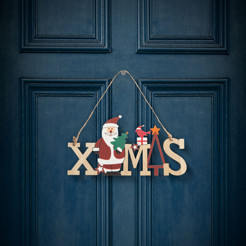 Karácsonyi dekor fából - mikulásos - akasztóval - 17 x 9 cm
